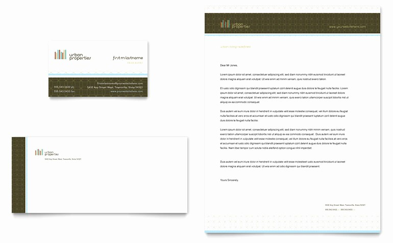 Real Estate Letterhead Templates Free Awesome Urban Real Estate Business Card & Letterhead Template