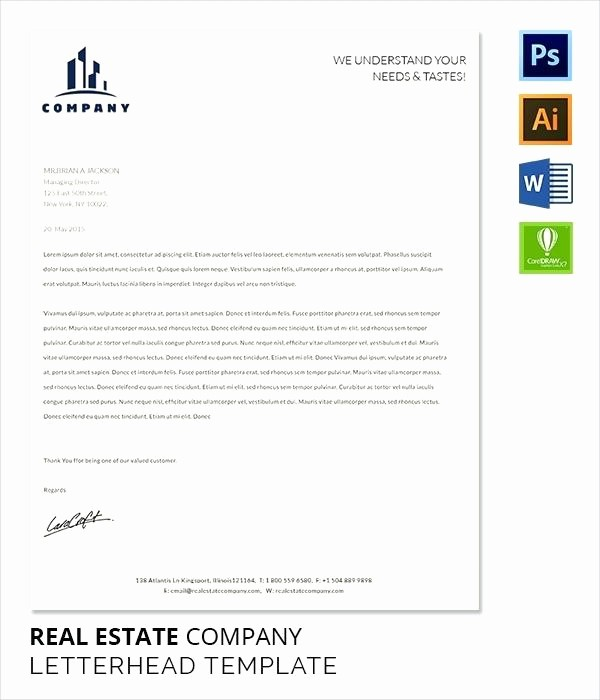 real estate letter head template letterhead or business free pany