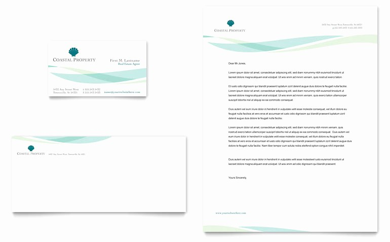 Real Estate Letterhead Templates Free Lovely Coastal Real Estate Business Card & Letterhead Template