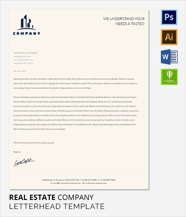 Real Estate Letterhead Templates Free Luxury 38 Pany Letterhead Templates – Free Sample Example
