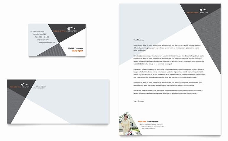 Real Estate Letterhead Templates Free Luxury Contemporary & Modern Real Estate Business Card