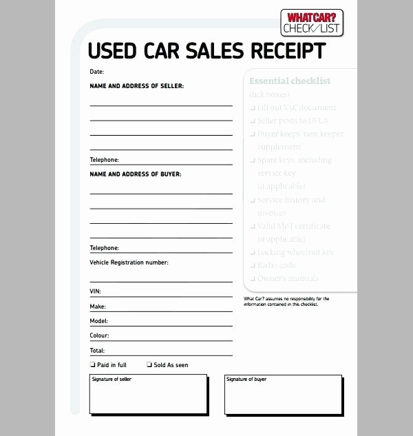 Receipt for Car Sale Private Fresh Private Car Sale Receipt Automobile Receipt Template