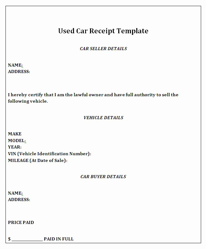 Receipt for Car Sale Private Inspirational Private Car Sale Receipt Template Free