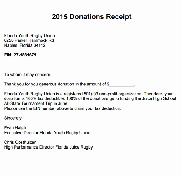 Receipt for Non Profit Donation New 10 Fundraiser Receipt Templates