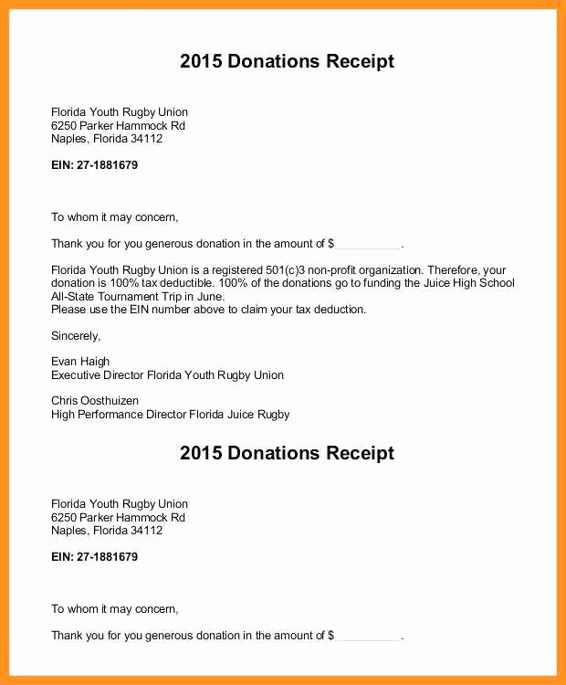 Receipt for Non Profit Donation New 5 6 Non Profit Donation Receipt Letter