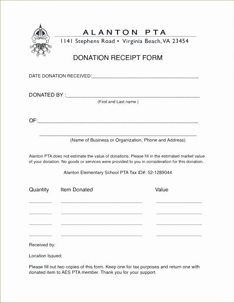 Receipt for Non Profit Donation Unique Donation Receipt form Charitable Donation Receipt form