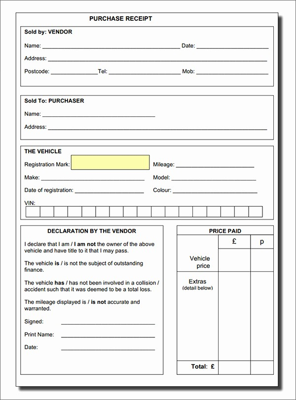 Receipt for Purchase Of Car Awesome Vehicle Purchase Receipt form Sample forms