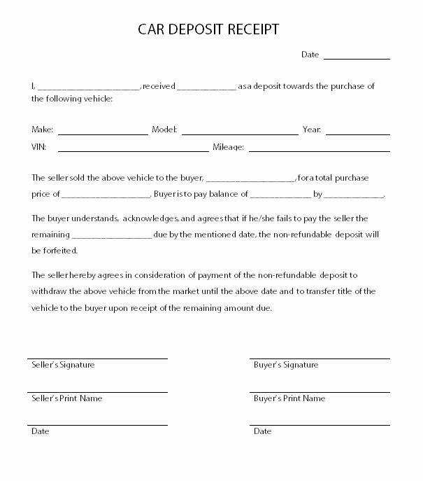 Receipt for Purchase Of Car Elegant Car Deposit Receipt Car Agreement Pinterest