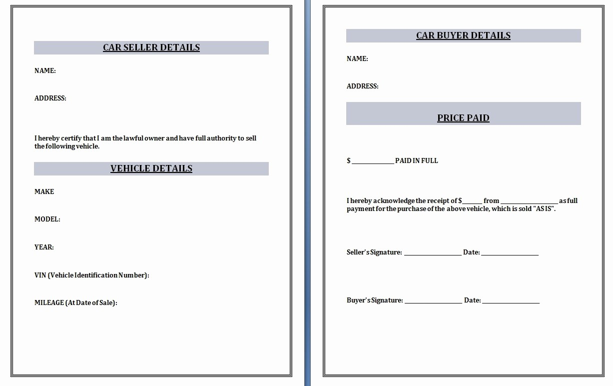 Receipt for Purchase Of Car Lovely Receipt Template Word