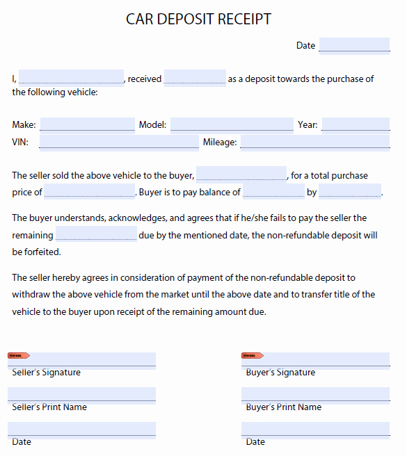 Receipt for Purchase Of Car Luxury Car Deposit forms Find Word Templates