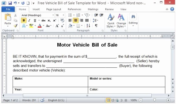 Receipt for Purchase Of Car Luxury Free Vehicle Bill Sale Template for Word