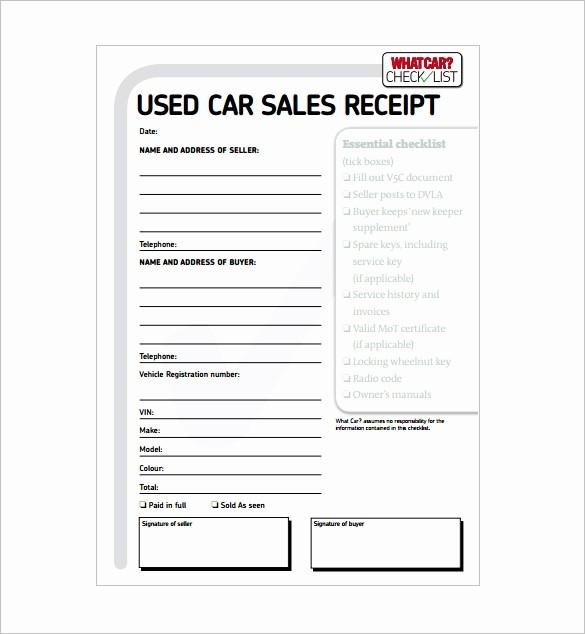 Receipt for Purchase Of Car Unique 13 Car Sale Receipt Templates Doc Pdf