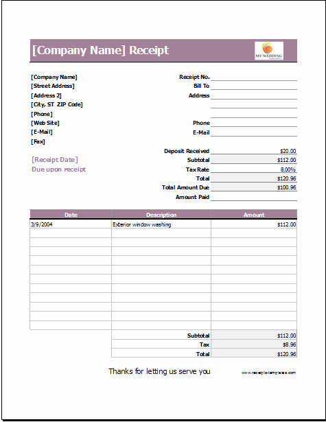 Receipt for Services Template Free Beautiful Wedding Services Receipt Template for Excel