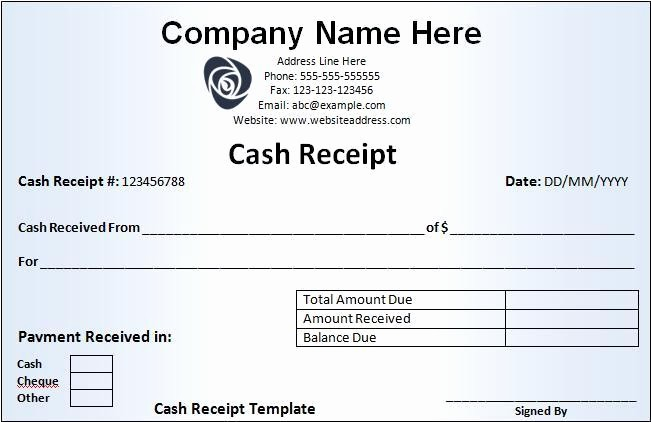 Receipt for Services Template Free Best Of Cash Receipt Template