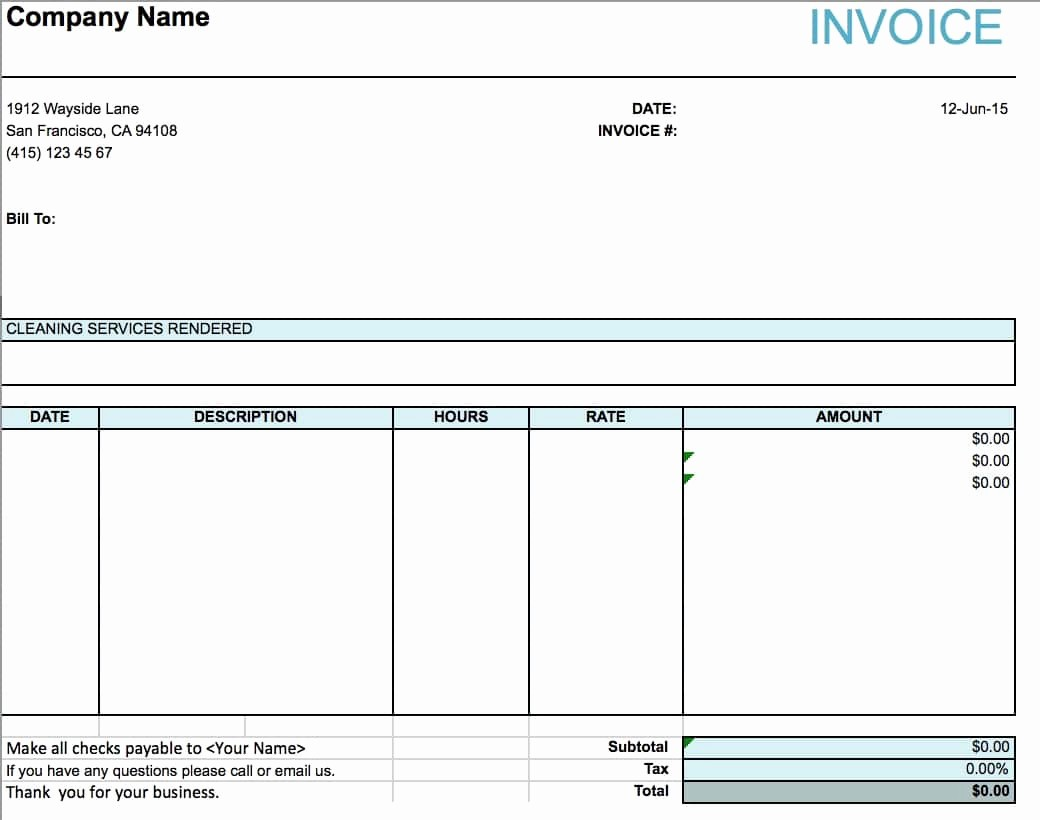 Receipt for Services Template Free Lovely Free House Cleaning Service Invoice Template Excel