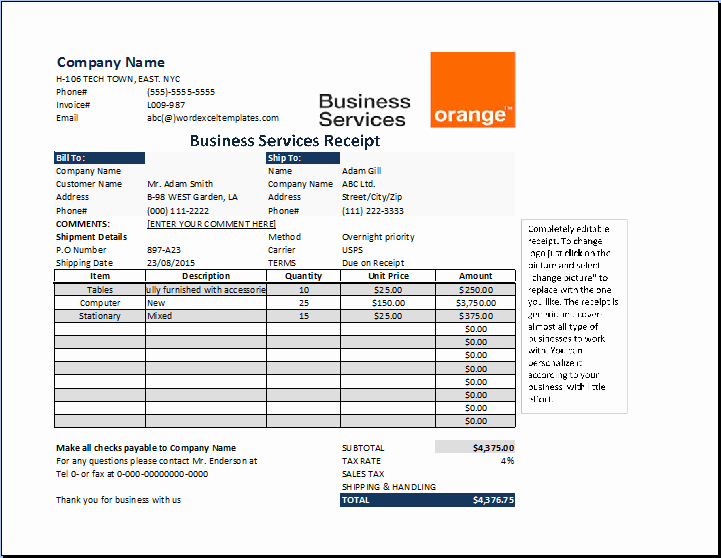 Receipt for Services Template Free Lovely Ms Excel Business Services Receipt Template