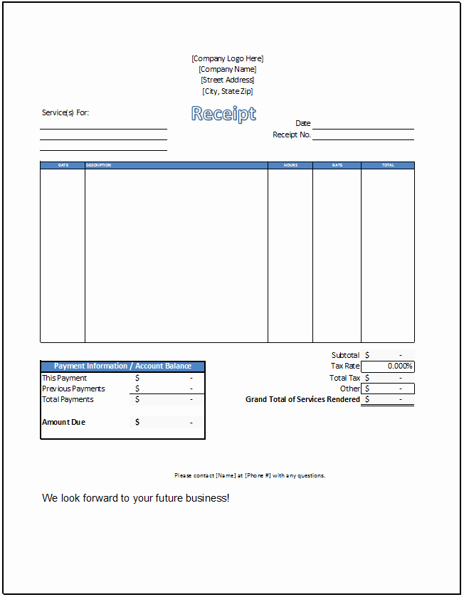 Receipt for Services Template Free New Service Receipt Template Spreadsheetshoppe
