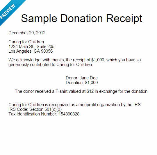 Receipt for Tax Deductible Donation Awesome Sample Donation Letter for 501c3