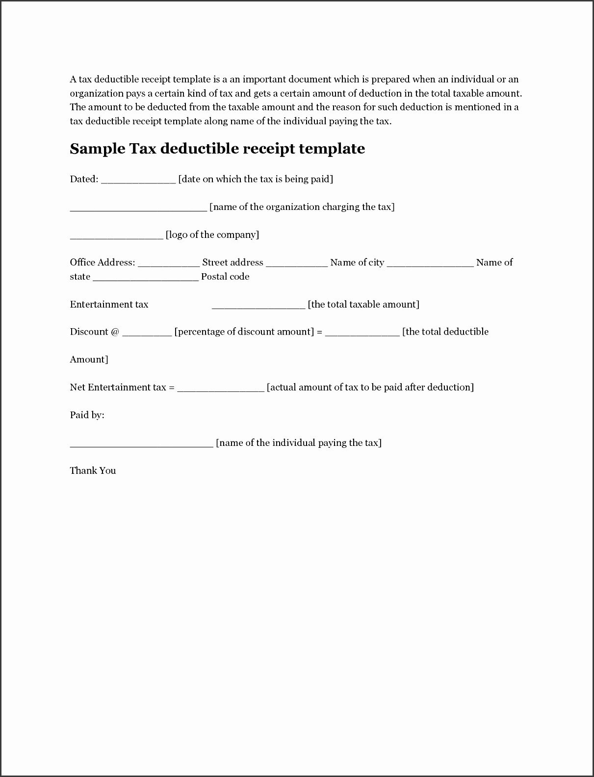 Receipt for Tax Deductible Donation Best Of 6 Tax Donation Receipt Template Sampletemplatess