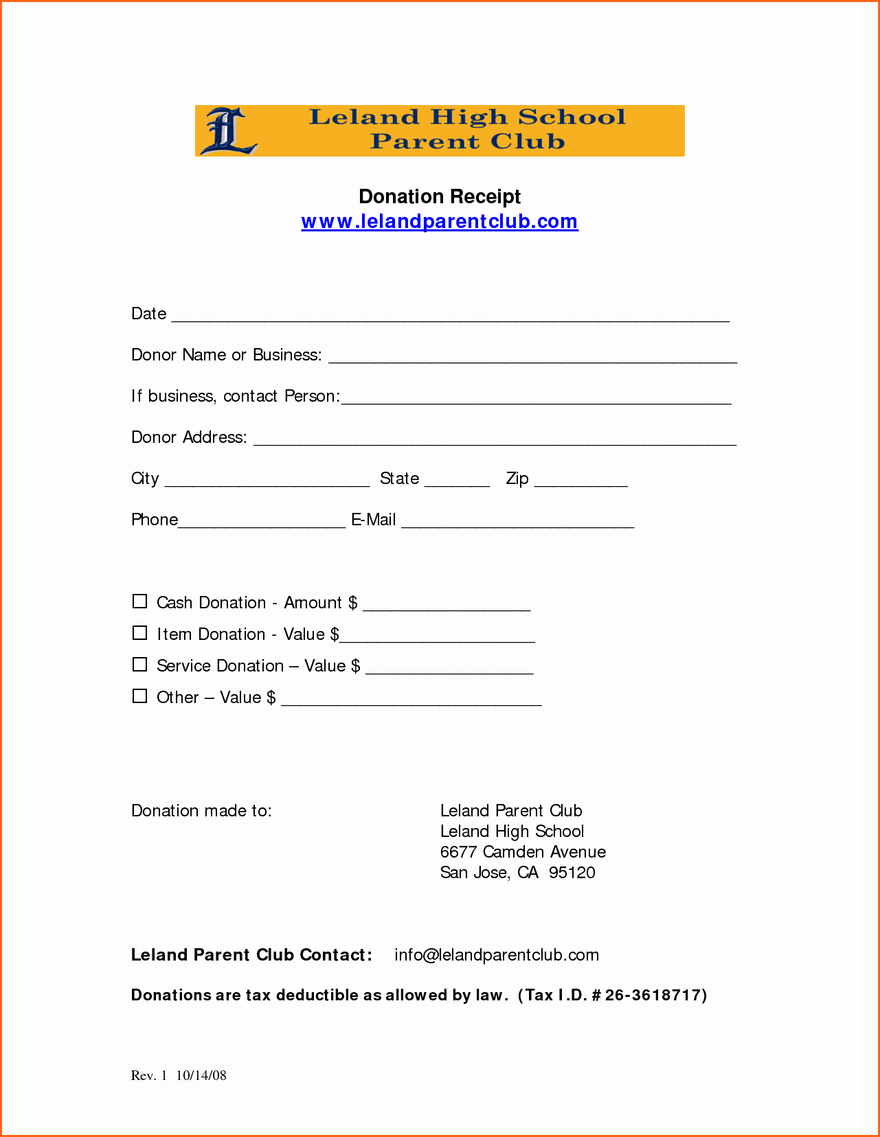 Receipt for Tax Deductible Donation Lovely 7 Church Donation Receipt Template Bud Template Letter