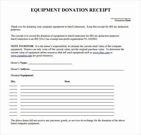 Receipt for Tax Deductible Donation Luxury 23 Donation Receipt Templates – Pdf Word Excel Pages