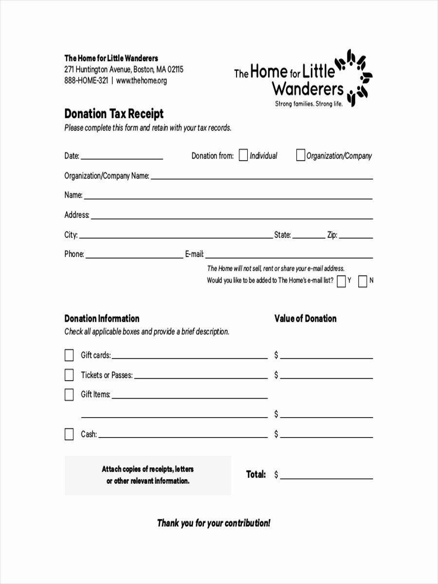 Receipt for Tax Deductible Donation New 9 Donation Receipts Examples & Samples