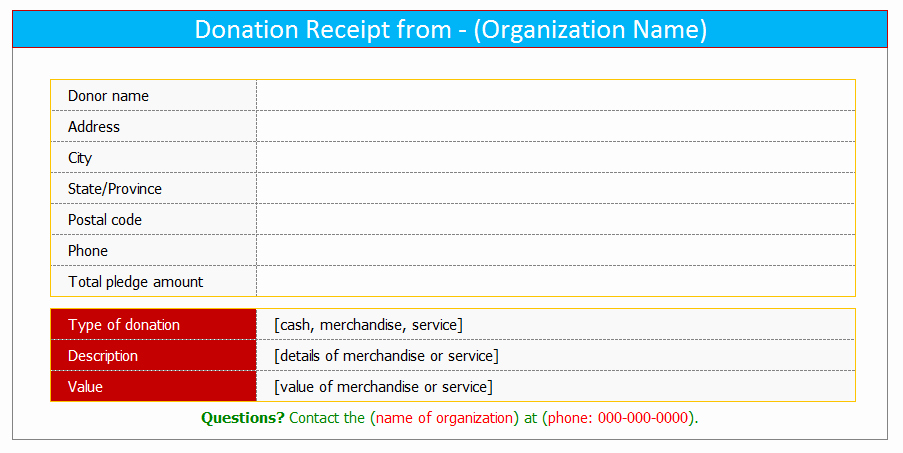 Receipt for Tax Deductible Donation New Donation Receipt Template