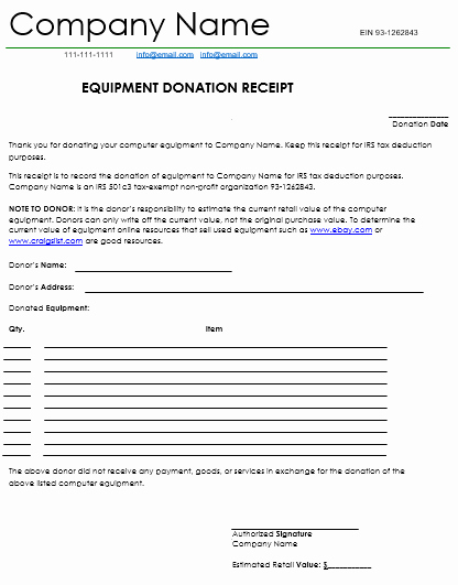 Receipt for Tax Deductible Donation Unique Donation Receipt Template 12 Free Samples In Word and Excel
