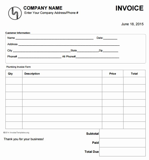 Receipt for Work Done Template Elegant 14 Free Plumbing Invoice Templates Demplates