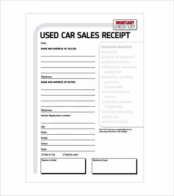 Receipt for Work Done Template Elegant Car Sale Receipt Receipt Template Doc for Word Documents