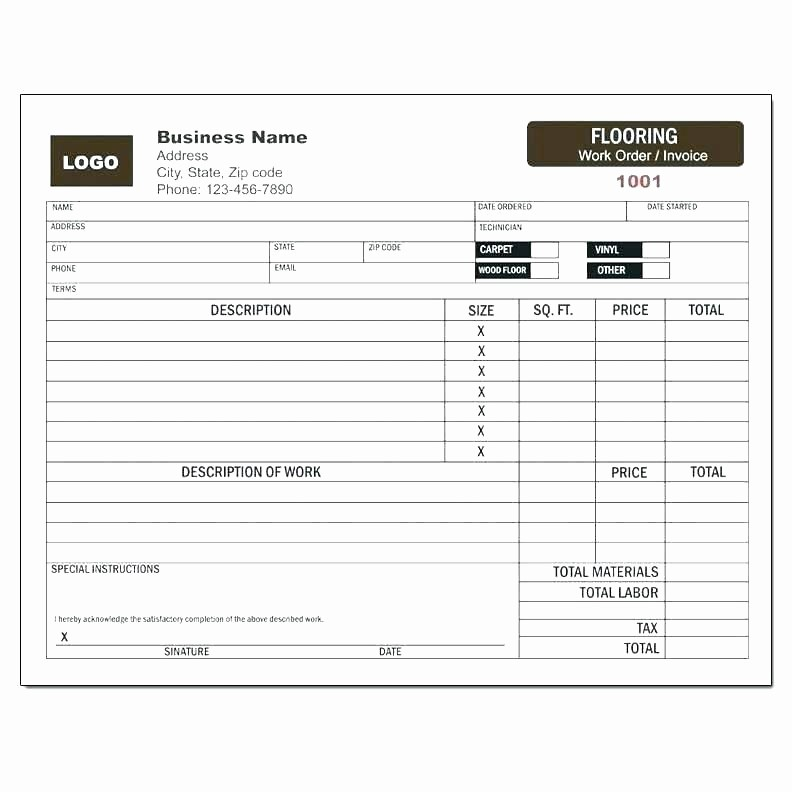 Receipt for Work Done Template New Work order Receipt Contractor Invoice Template Work order
