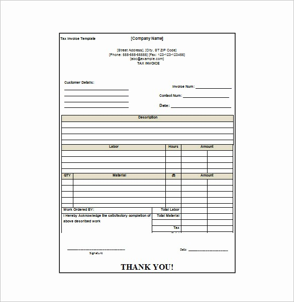 Receipt for Work Done Template Unique Invoice Receipt Template Word