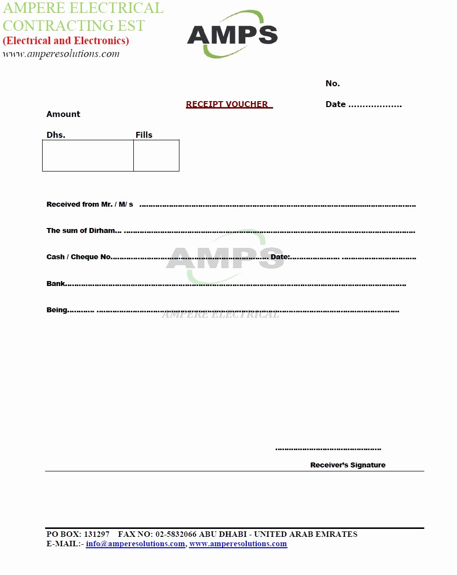 "Receipt format for Payment Received Fresh Ampere Electrical Contracting Est Sample ""letters and"