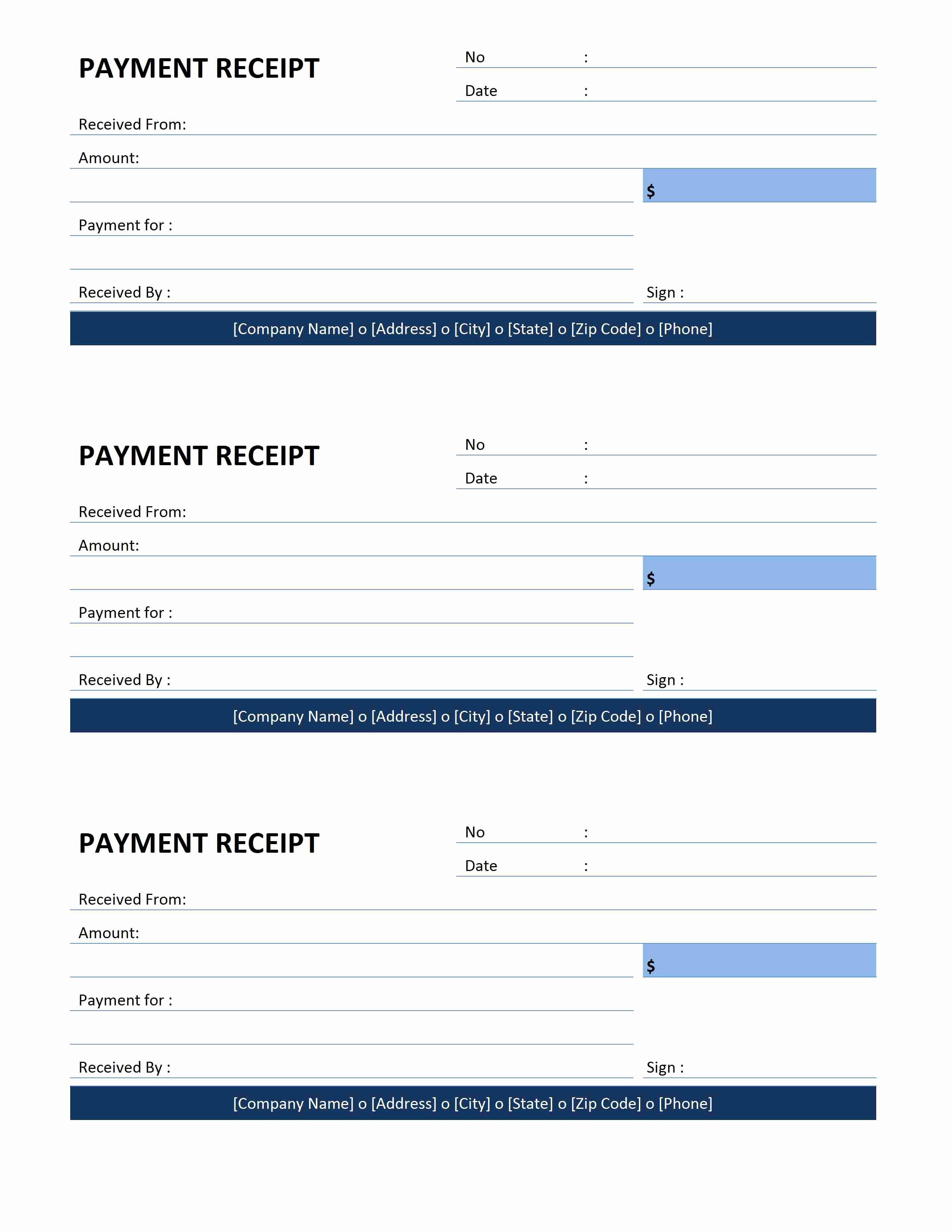 Receipt format for Payment Received Fresh Payment Receipt