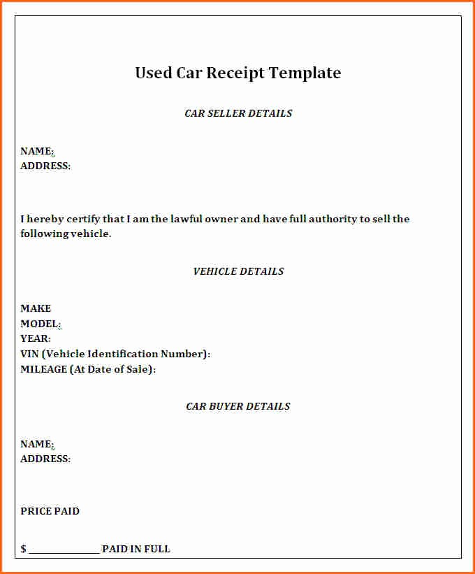 Receipt Of Sales for Car Beautiful 4 Deposit Receipt for Car Sale Bud Template Letter