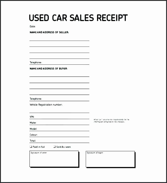 Receipt Template for Car Sale Luxury sold as Seen Receipt Template Car Vehicle Sales Receipt