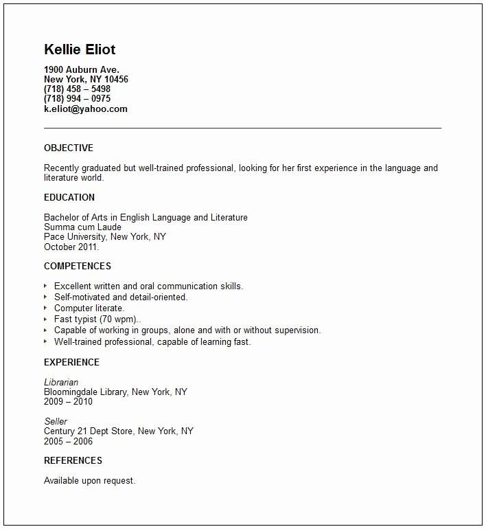 Recent College Graduate Resume Template Elegant Resume Examples Recent Graduate