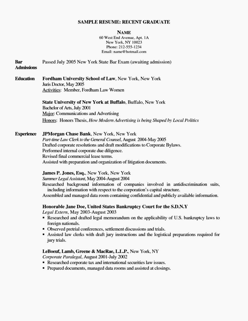 Recent College Graduate Resume Template Fresh Example Resume for Newly Graduate