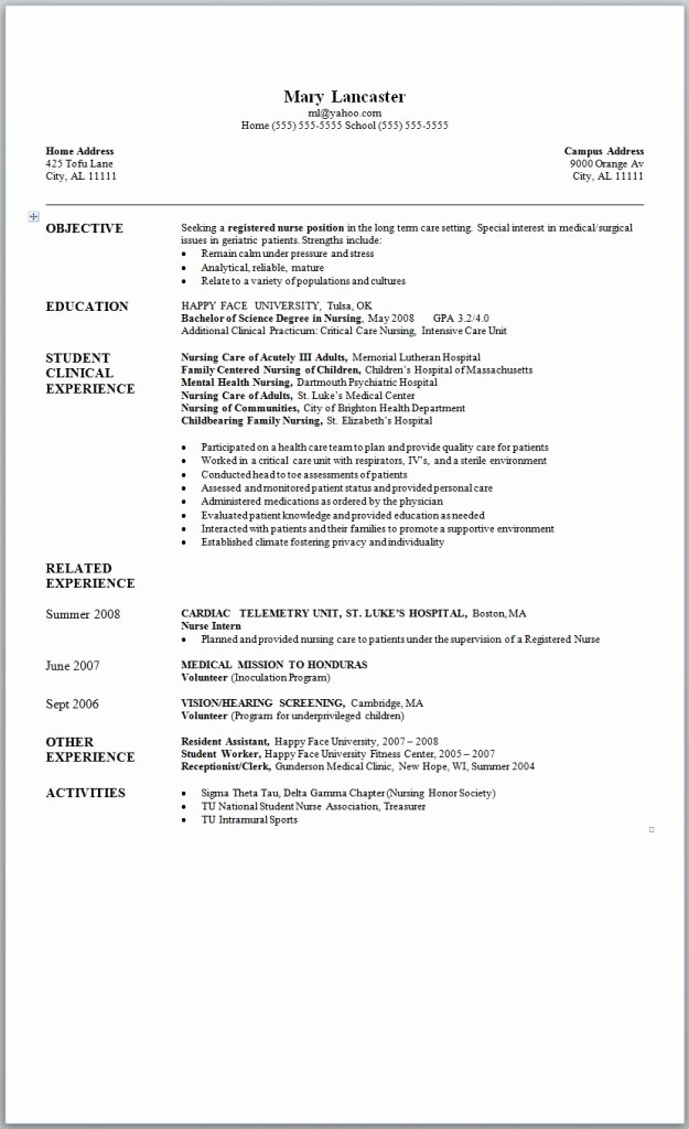 Recent College Graduate Resume Template Lovely New Grad Nursing Resume Samples Sample Nursing Resume New