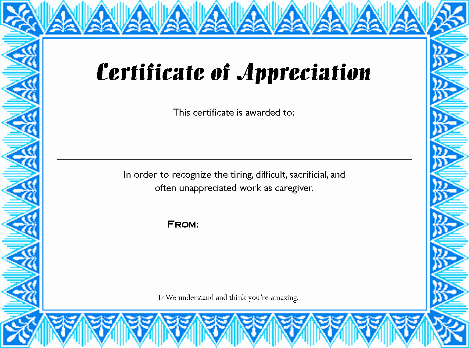 Recognition Certificate Templates Free Printable Awesome Fill In Certificates Appreciation to Pin On