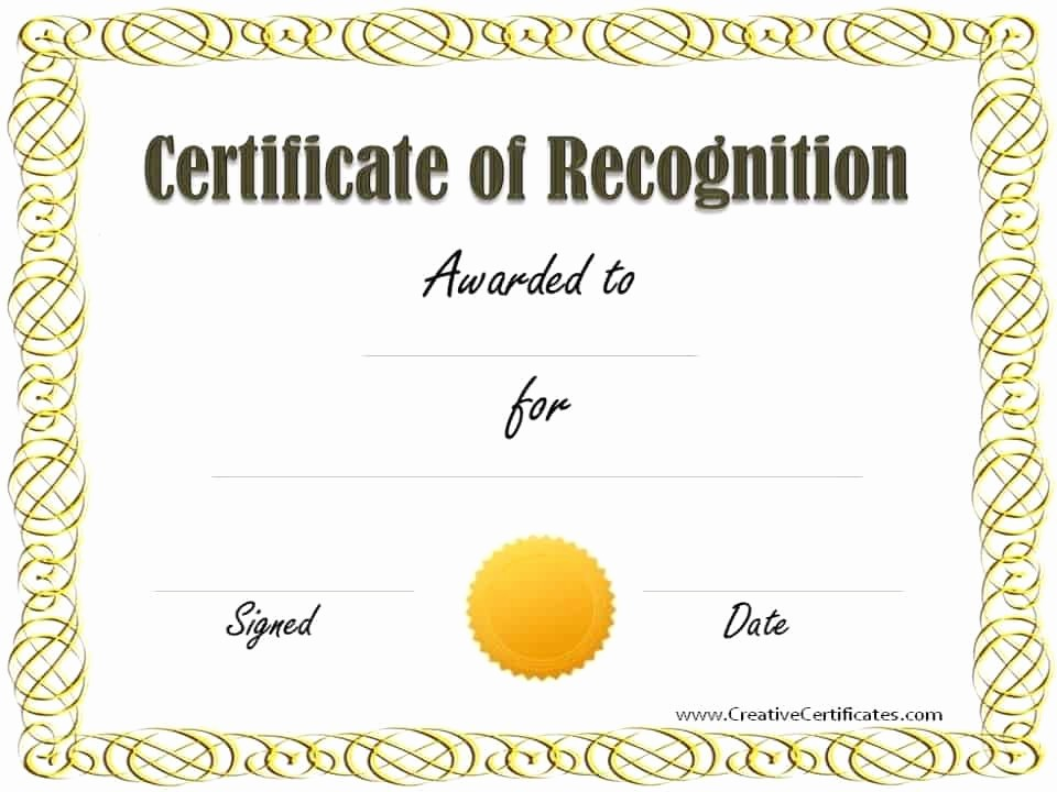 Recognition Certificate Templates Free Printable Lovely Free Certificate Of Recognition Template