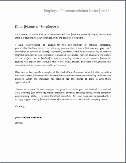 Recommendation Letter for An Employee Awesome the 25 Best Employee Re Mendation Letter Ideas On