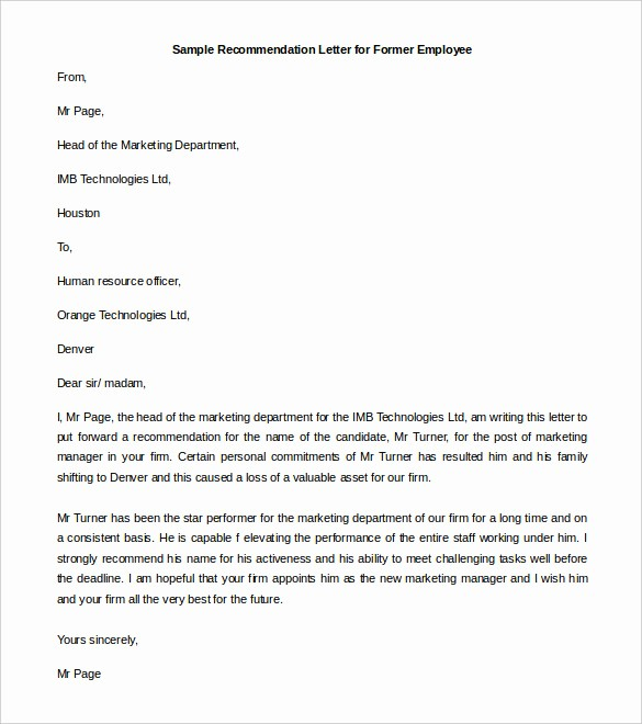 Recommendation Letter for An Employee Beautiful 30 Re Mendation Letter Templates Pdf Doc