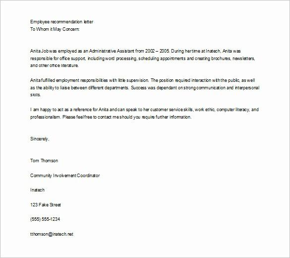 Recommendation Letter for An Employee Elegant 10 Job Re Mendation Letter Templates Doc
