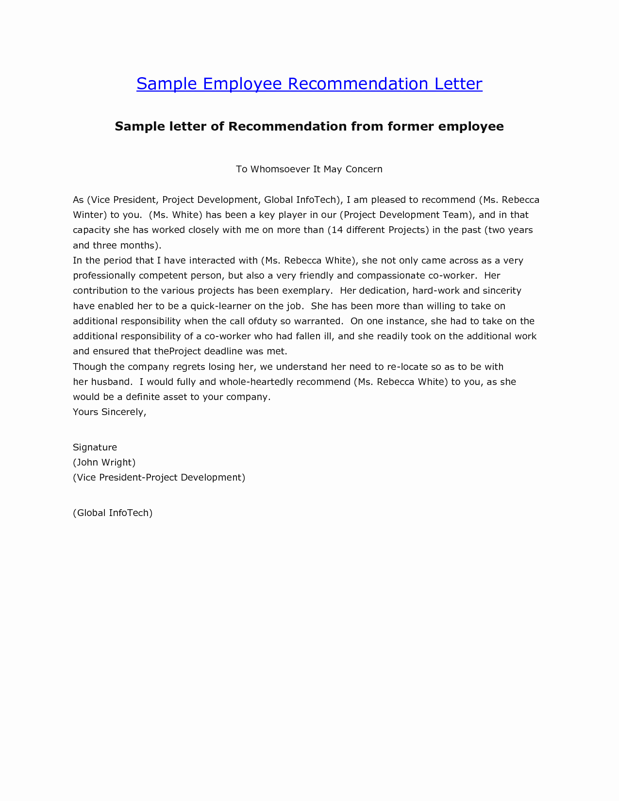 Recommendation Letter for An Employee Fresh Letter Re Mendation Sample Employment