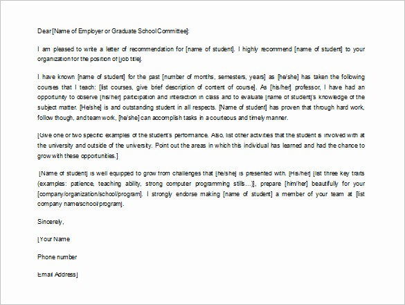 Recommendation Letter for Job Reference Beautiful 10 Job Re Mendation Letter Templates Doc