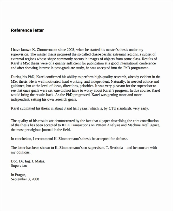 Recommendation Letter for Job Reference Beautiful 7 Job Reference Letter Templates Free Sample Example