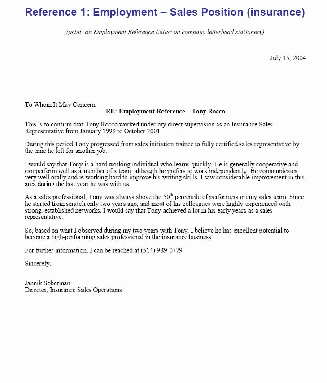 Recommendation Letter for Job Reference Beautiful Proper Sample Employment Reference Letter – Letter format