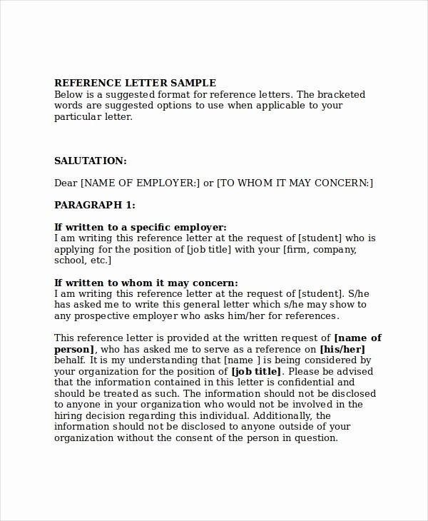 Recommendation Letter for Job Reference Elegant 13 Employment Reference Letter Templates Free Sample