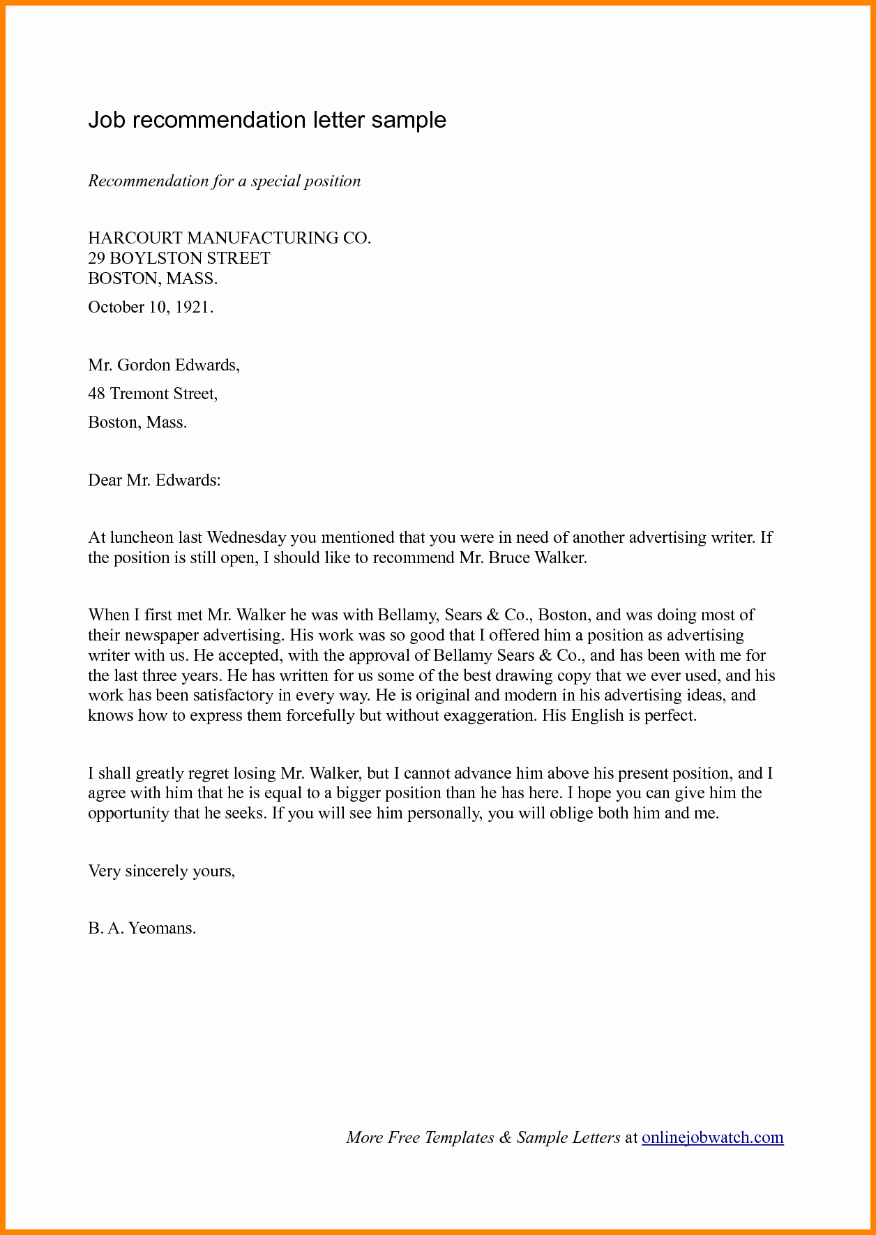 Recommendation Letter for Job Reference Fresh 7 Job Re Mendation Letters